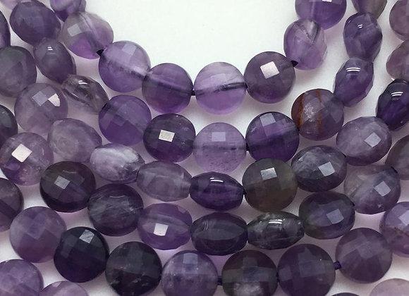 Améthyste palet 6.2x4.5mm facette - 55 perles par fil