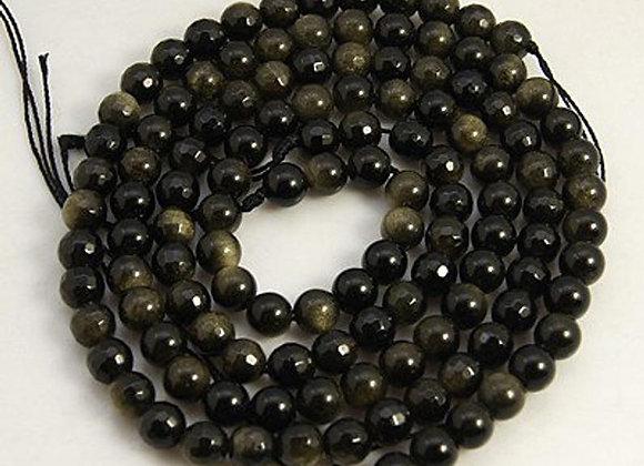 Obsidienne dorée 6mm facette - 61 perles par fil