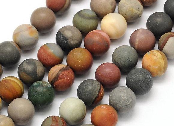 Agate Polychrome Givrée 10mm Naturelle - 37 perles par fil