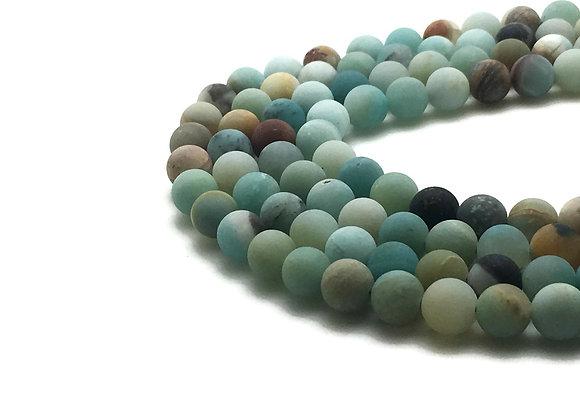 Amazonite Givrée 6mm Naturelle - 61 perles par fil