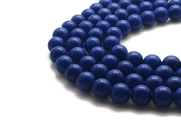 Jade Mashan Bleu 8mm - 47 perles par fil