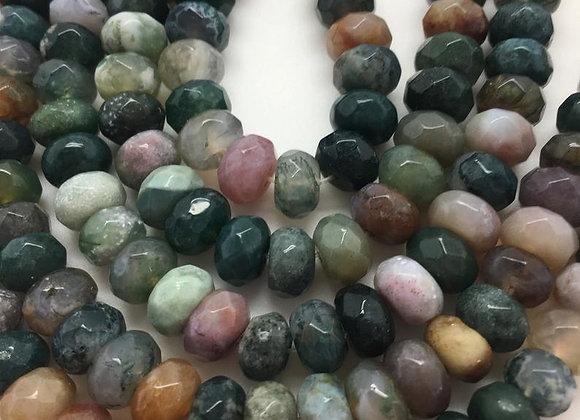 Agate indienne abacus 8x5mm facette - 70 perles par fil
