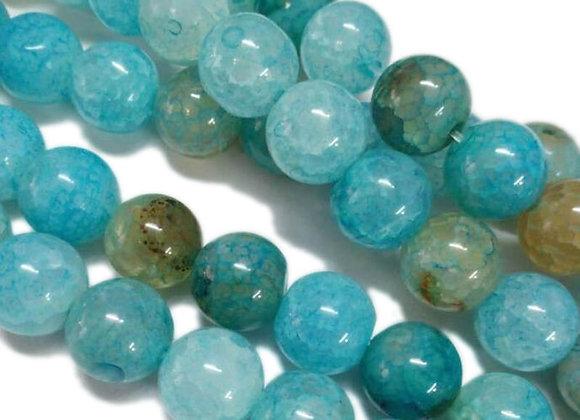 Agate Veine De Dragon Bleu 6mm - 61 perles par fil