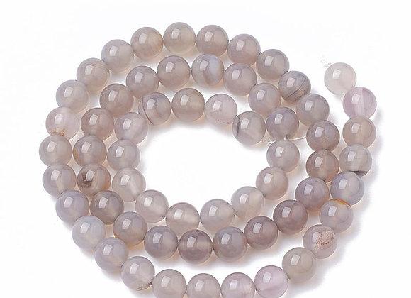 Agate Grise 6mm Naturelle - 61 perles par fil