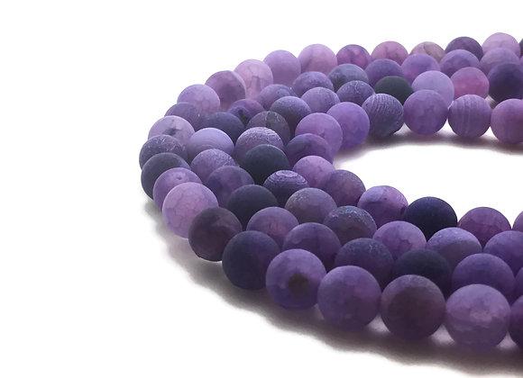 Agate Craquelée Violet 8mm - 47 perles par fil