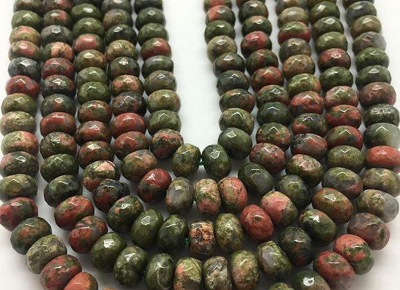 Unakite abacus 8x5mm facette - 70 perles par fil