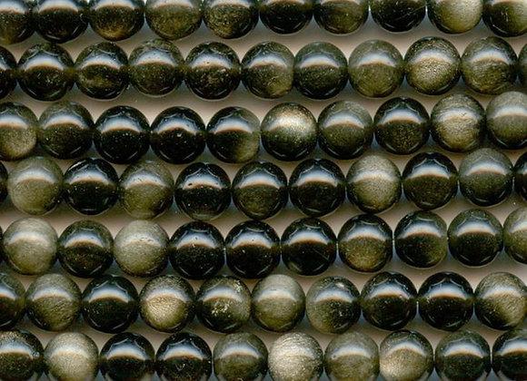 Obsidienne dorée 8mm - 47 perles par fil