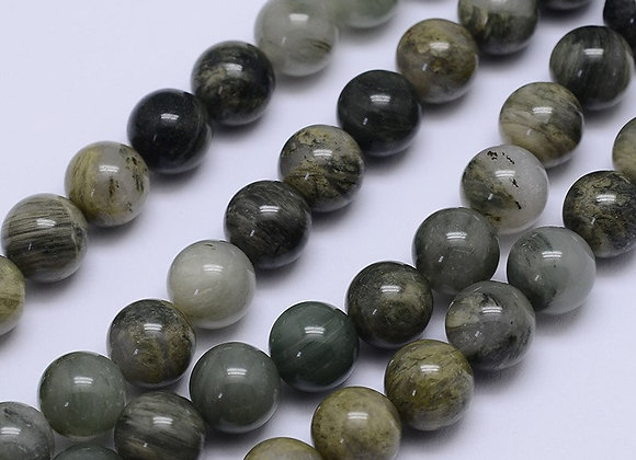 Quartz rutile 8mm vert Naturel - 47 perles par fil