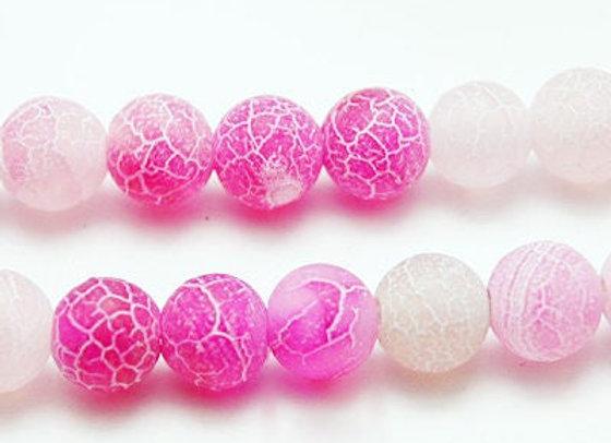 Agate Craquelée Rose 10mm - 37 perles par fil