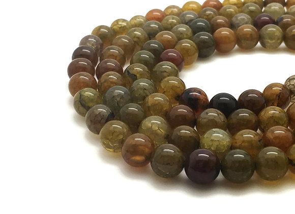 Agate Veine De Dragon Brun Vert 12mm - 32 perles par fil