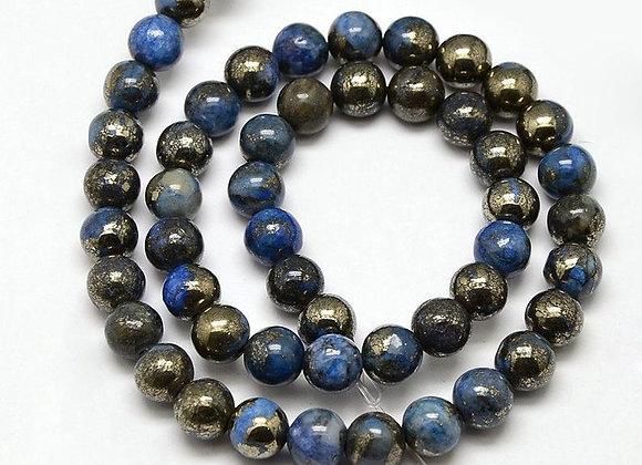 Pyrite 6mm électroplate bleu - 61 perles par fil