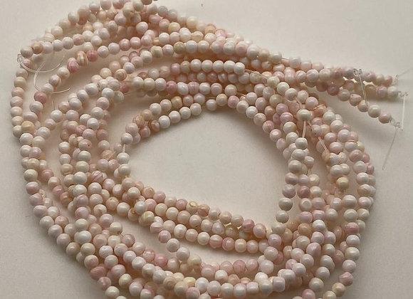 fil de perles rondes de coquillages naturels 3x3mm blanc rose