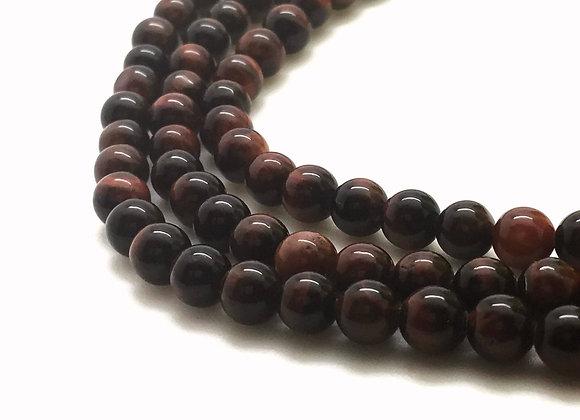 Oeil de Tigre Rouge 6mm Naturel - 30 perles par fil