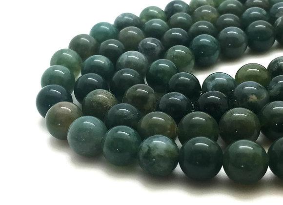 Agate Mousse 10mm Naturelle - 37 perles par fil