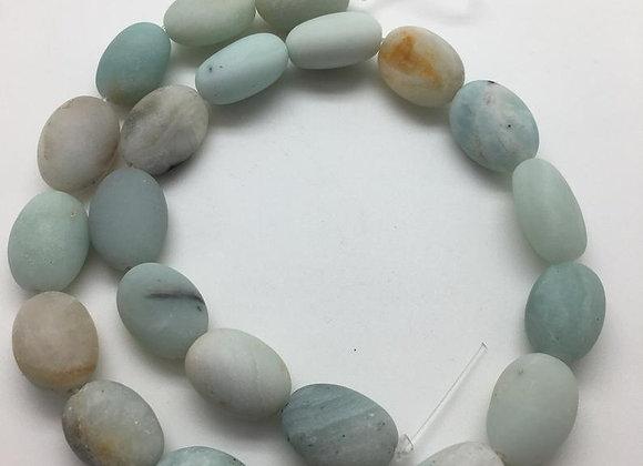 Amazonite galet 18x13x10mm givrée - 20 perles par fil