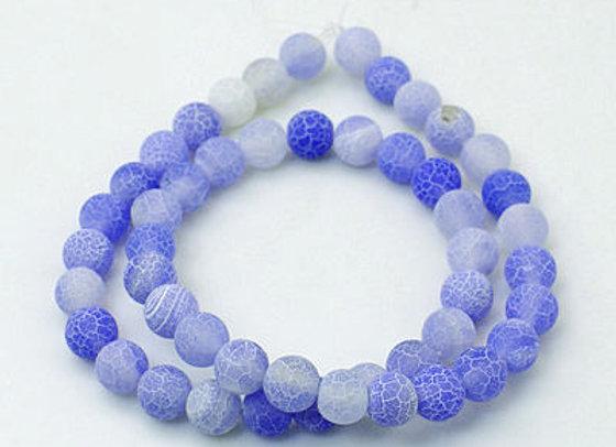 Agate Craquelée Bleu Ciel 8mm - 47 perles par fil