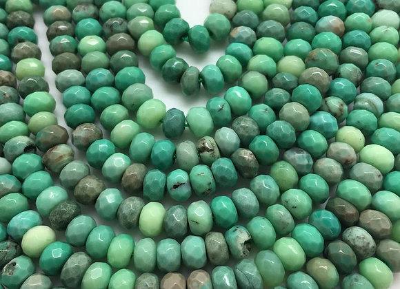 Agate verte abacus 6x4mm facette - 90 perles par fil