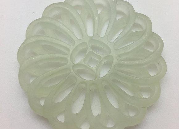 Pendentif palet pierre de jade naturelle 52x6mm vert sculpté AE04