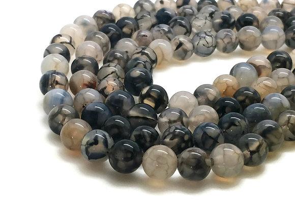 Agate Veine De Dragon 10mm Blanc Noir - 37 perles par fil