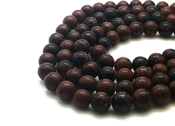 Obsidienne Acajou 12mm Naturelle - 32 perles par fil