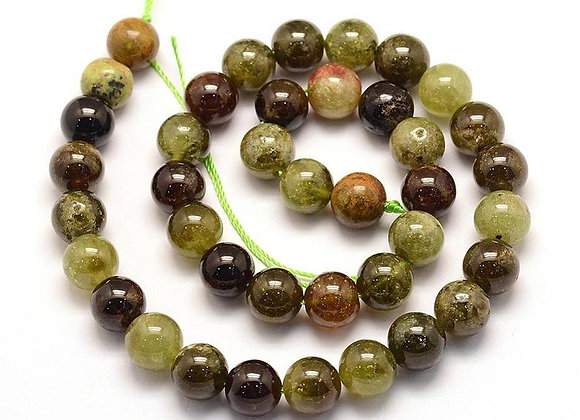Grenat Vert 6mm Naturel - 61 perles par fil