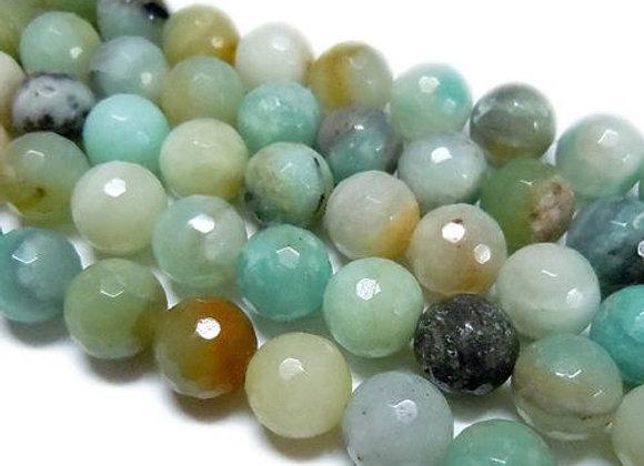 Amazonite à Facettes 8mm Naturelle - 47 perles par fil