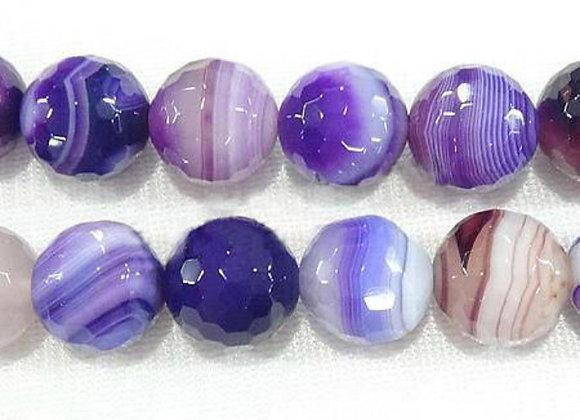 Agate Madagascar à Facettes Violet Blanc 6mm Naturelle - 61 perles par fil