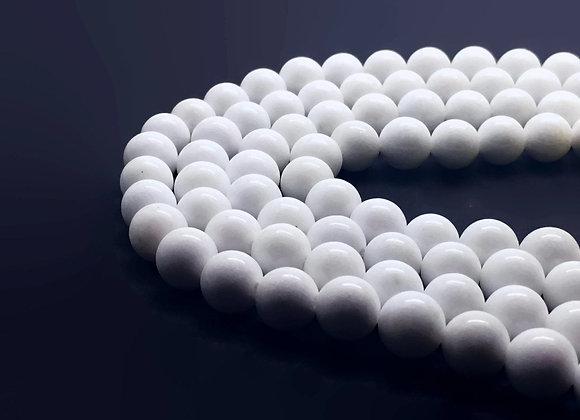 Jade Mashan Blanc 10mm - 37 perles par fil