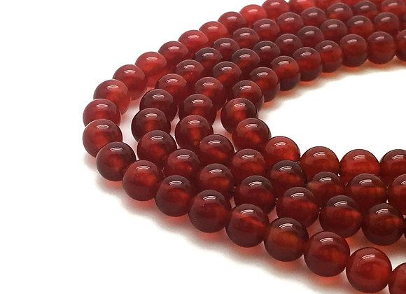 Agate Rouge 8mm Naturelle - 22 perles par fil