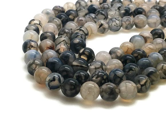 Agate Veine De Dragon 6mm Blanc Noir - 61 perles par fil