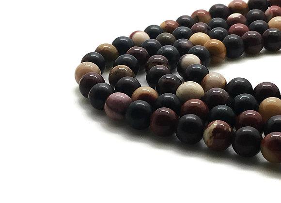 Mokaïte 10mm Naturelle - 37 perles par fil