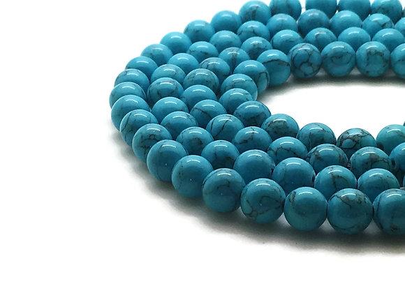 Jade Mashan Turquoise 6mm - 61 perles par fil