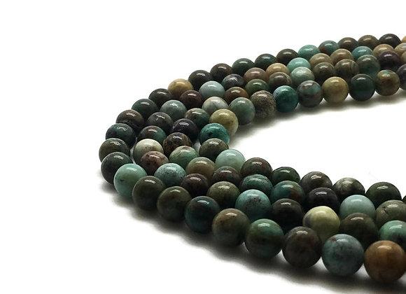 Agate forêt 6mm - 61 perles par fil