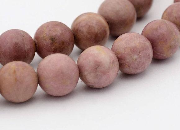 Rhodonite 8mm Naturelle - 47 perles par fil