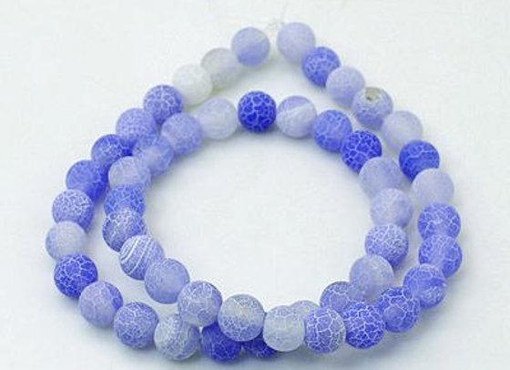Agate Craquelée Bleu Ciel 10mm - 37 perles par fil