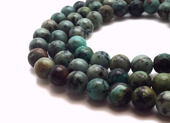 Turquoise Africaine 10mm Naturelle - 37 perles par fil
