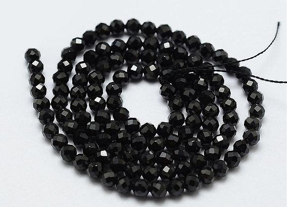"""Spinelle noire 2mm à facettes - fil 15.5""""-38cm"""