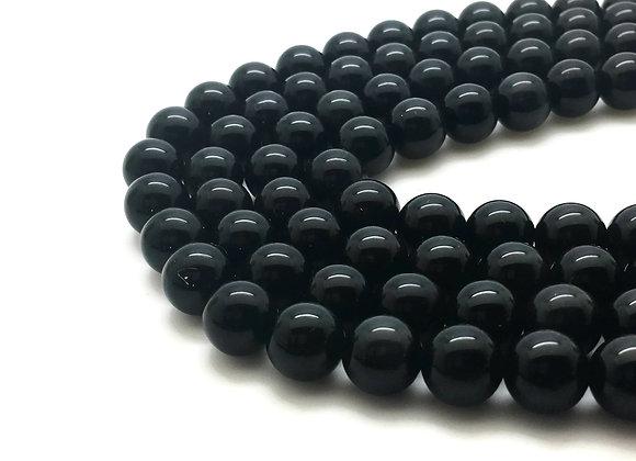 Obsidienne Noire 12mm Naturelle - 32 perles par fil