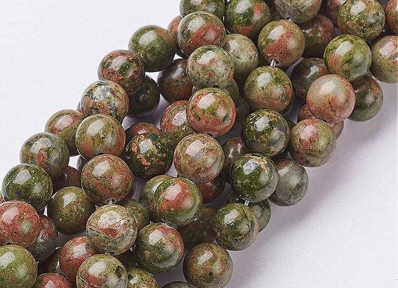 Unakite 8mm Naturelle - 47 perles par fil
