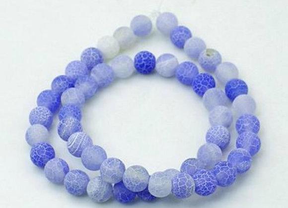 Agate Craquelée Bleu Ciel 6mm - 61 perles par fil