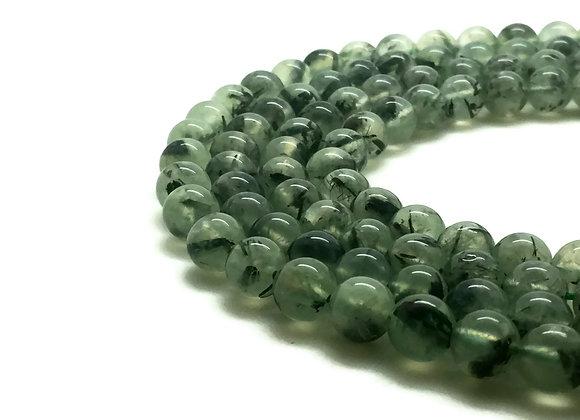 Préhnite Naturelle 6mm - 61 perles par fil