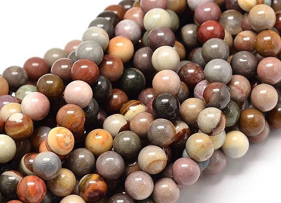 Agate Polychrome 10mm Naturelle - 37 perles par fil