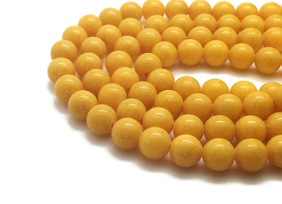 Jade Mashan Jaune 6mm - 61 perles par fil