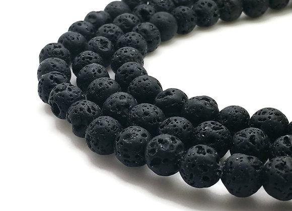 Pierre De Lave 6mm Noire Naturelle - 61 perles par fil