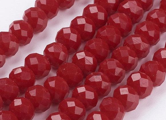 Verre abacus / rondelle imitation jade 6x4mm rouge facette - 90 perles par fil