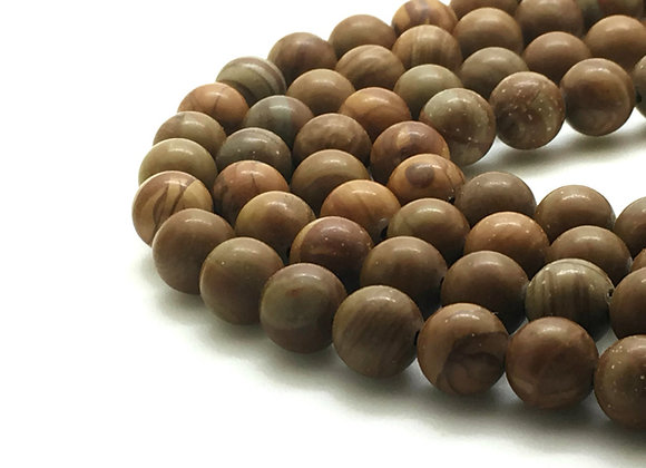 Wood Lace Stone Marron 6mm Naturel - 61 perles par fil