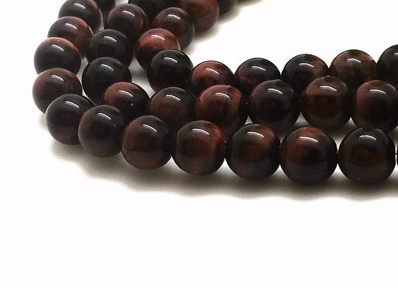Oeil de Tigre Rouge 8mm Naturel - 22 perles par fil