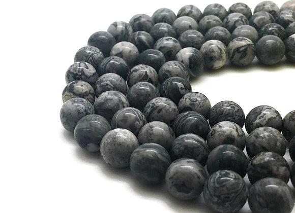 Jaspe Paysage 4mm Naturelle - 89 perles par fil