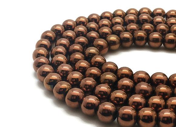 Hématite 8mm Couleur Cuivre Rouge - 47 perles par fil