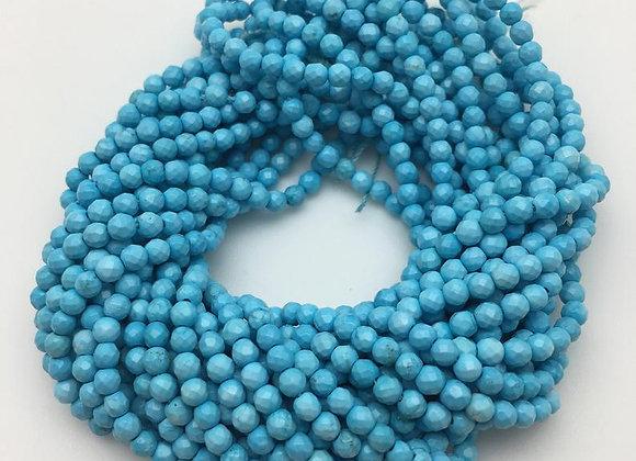 """Turquoise bleu 3mm à facettes - fil 15.5""""-38cm"""
